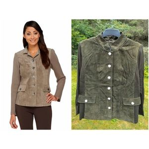 Suede Jacket with Knit Sleeves, 26W NWT Olive